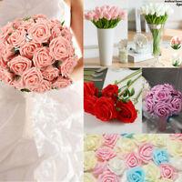 50 Foam/Silk Rose Artificial Fake Flowers Bunch Bride Bouquet Wedding Home Party