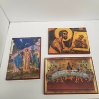 St. Isaac of Syria Skete Religious Prints on Wood Lot of 3, Christian Decor