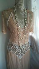 Vtg 1920,s style Gatsby downton nude sequin beaded wedding prom dress size 8 uk