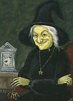 1.5x2 DOLLHOUSE MINIATURE PRINT OF PAINTING RYTA 1:12 SCALE HAUNTED WITCH CLOCK