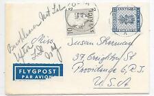 SWEDEN SMALL COVER TO U.S.A.; PENCIL SCRIPT ADDITION; 10/12/1955;SG318b & 362.