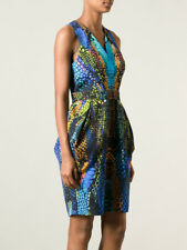 Alexander McQueen Multicolor Crocodile Print Dress McQ Size 40