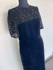 Stella macartney evening dress black lace top, blue velvet AMAZING used once !!!