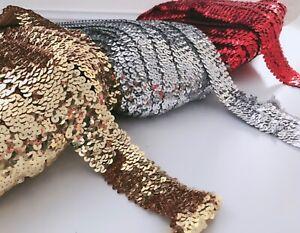 2M SEQUINS Sequined Dance Belt Bracelet headband Stretch Sewing Trim DIY Craft
