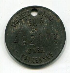 Erkennungsmarke des Panzerwek der DEMAG Fahrzeug Werke G.M.B.H. Falkensee 2.WK