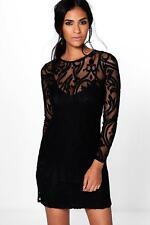Boohoo Emma Flock and Mesh Bodycon Dress Size XL Black LF085 GG 11