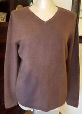 CHADWICK'S 100% Cashmere Taupe Brown V Neck Long Sleeve Sweater - sz XL