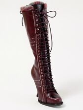 New  Dior Montagne Burgundy Hand Made Leather  Boots 37 US 7