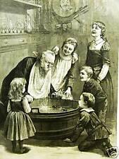 HALLOWEEN APPLE DIPPING CHILDREN 1887 Antique Engraving Art Print Matted