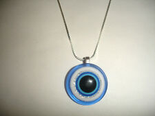 Greek Evil Eye Hamsa Kabbalah Sterling Silver Necklace - Ward off bad Luck !!