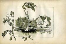 PORT ET BATEAUX A AURAY Gravure originale de 1886