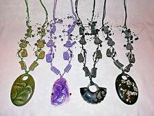 Halskette XXL-Schmuck-Perlen, Pulloverkette, großer Anhänger am Kordelband
