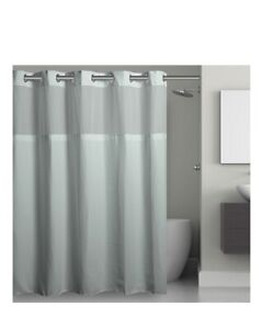 Hookless Shower Curtain; 71x86; Misty Blue Waffle, With Liner