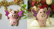 N85 BETSEY JOHNSON Cute FLYING PIGGY Necklace US