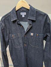 Carhartt Size Medium  Relaxed Fit Rugged Flex Dark Blue Denim Shirt Stretch