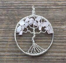 NATURAL ROSE QUARTZ TREE OF LIFE  WIRE WRAPPED PENDANT STONE GEMSTONE