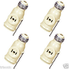 4 PCS SOCKET CONVERTER TO A LAMP HOLDER + TWO OUTLETS PULL CHAIN SWITCH IVORY