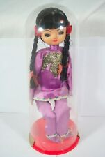 Vintage 60's Korean Big Eye Bradley Doll Oriental Purple Kimono sitting braids