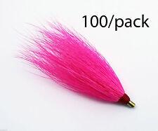 "LOT OF 100 SEA STRIKER Bucktail Teaser Fishing Lures 3"" Un Rigged BULK - Pink"
