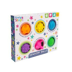 Pack Of 6 Baby Sensory Balls Textured Coloured Engaging Toys 6 Months Plus