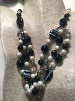 Vintage Style Black Striped Onyx Baroque Freshwater Real Pearl  Necklace