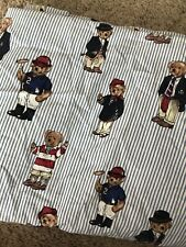 VTG 90's Ralph Lauren Polo Bear Twin Fitted And Flat Sheet Set Blue Stripe Rare