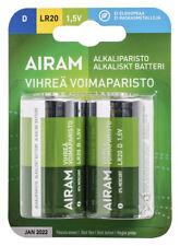 Battery Airam D Alkaline Blister 2pz 1,5V Alkaline Green Power Battery LR20