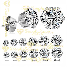 2Pcs Women Men Kids Surgical Steel Hypo-Allergenic  AAA CZ Crystal Stud Earrings