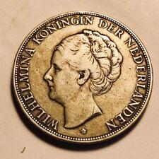 NETHERLANDS - Queen Wilhelmina - 2 1/2 Gulden - 1930 - Large Silver Coin!