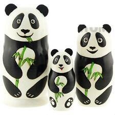 NEW Hand Painted Russian Nesting Doll Panda Bear 3 Pc Set Made In Russia