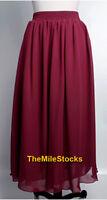 Sexy Elegant Double Chiffon Pleated Long Maxi Dress Skirt Women Lady Beach Girl