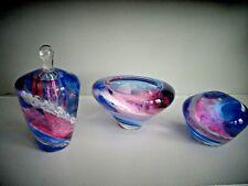 1996 Signed Studio Art Glass Blue Pink Swirl PAPERWEIGHT PERFUME BOTTLE BOWL LTD