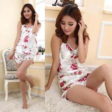 Women Silky Pajama Lingerie Nightwear Sleepwear Top Shorts 2pcs Pajamas Set