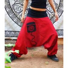 Black Red Festival Baggy Harem Genie Gypsy Aladdin Pants Woman Size S/M