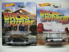 2019 Hot Wheels Retro Back To The Future Delorean & Ford Super DeLuxe 1:64 Cars