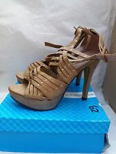 LADIES KHAKI HIGH HEELED SANDAL SHOES By JENNIKA WITH STUD DETAIL Size: UK 5