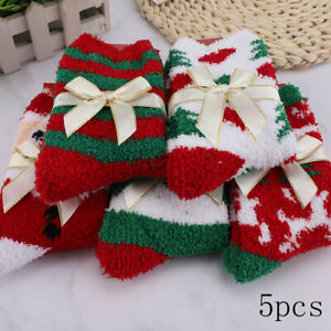 5 Pairs Christmas Soft Ladies Fluffy Lounge Cosy Bed Socks Winter Warm Gift Bags