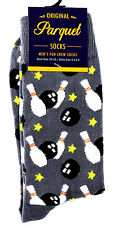 Bowling Ball Stars Mens Black Crew Socks Novelty Fun Casual Fashion Gift New