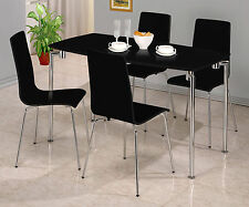 Dining Table Set Rectangle with Four Chairs - Black Gloss Finish