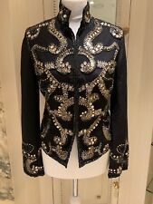 Authentic Jigsaw Women Beaded Emballishment Jacket Blazer Black Size S Fitz/10Uk