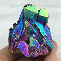 Top!Quartz Crystal Rainbow Titanium Cluster VUG Mineral Specimen Reiki Healing