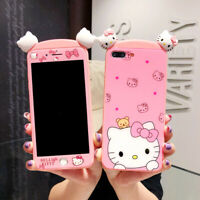 For iPhone XS Max X XR 8 7 3D Hello Kitty Case+ Front Tempered Glass Film Cover
