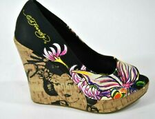"Ed Hardy Platform Wedge Shoes Floral Geisha Sandals Pumps 4 3/4"" heel Size 6.5"