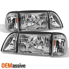 87-93 Mustang Clear Headlights w/ Corner & Parking 6Pcs Complete Replacement Set