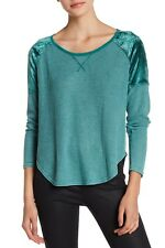 New Lucky Brand Size Medium Teal Thermal Waffle Texture Velour Tee Top NWT $60