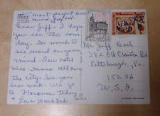 "Two 1970s Vatican City ""Poste Vaticane"" postage stamps on postcard"