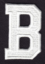 """LETTERS - WHITE BLOCK LETTER """"B"""" (1 7/8"""") - Iron On Embroidered Applique Patch"""