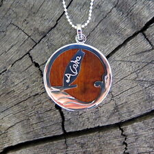 Hawaiian Koa Wood Jewelry Surf Wave Silver Rhodium Plated Brass Pendant BRP1014