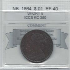 **1864 Short 6**,New Brunswick Large One Cent, Coin Mart Graded **EF-40**