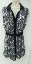 BNWT H&M Ladies Size 10 Black White Grey Tunic Top Sleeveless Brand New Summer